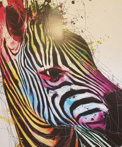 Foto van een schilderij met zebra