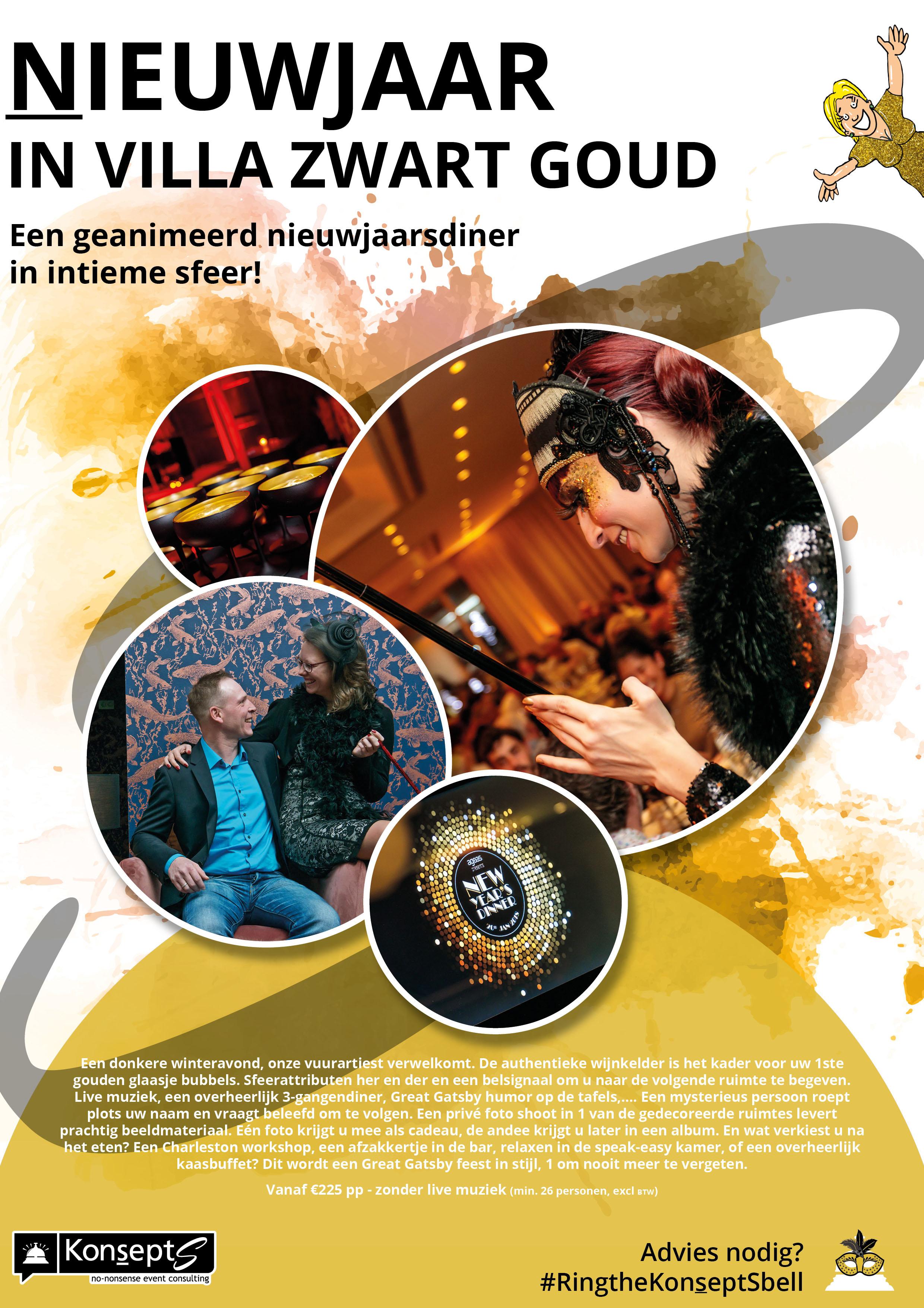Nieuwjaar in Villa Zwart Goud Flyer nieuwjaarsdiner bedrijven