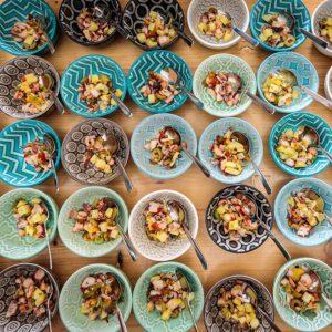 Trouwbrunch voor de gasten van Sophie Tersago en Tom voorbereid door catering Witti, walking buffet